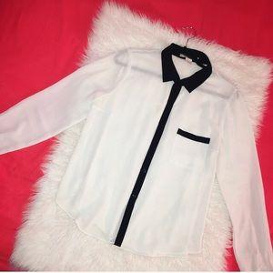 Forever21 White/Black Long Sleeve Button down